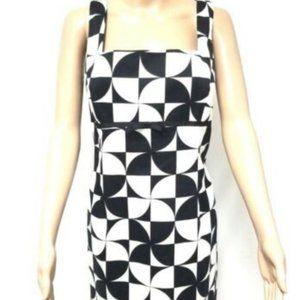 Nine West Dress 14 Black White Checked Empire Zip